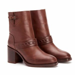 Aquatalia Evette Leather Booties Made In Italy
